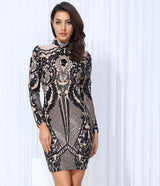Unpredictable Moments Black Long Sleeve Sequin Mini Dress - Fashion Genie Boutique USA Alt