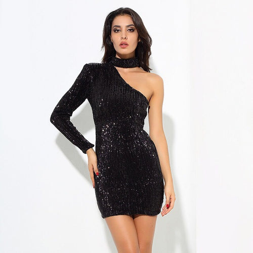 Mystique Black Sequin One Shoulder Mini Choker Dress - Fashion Genie Boutique USA Alt