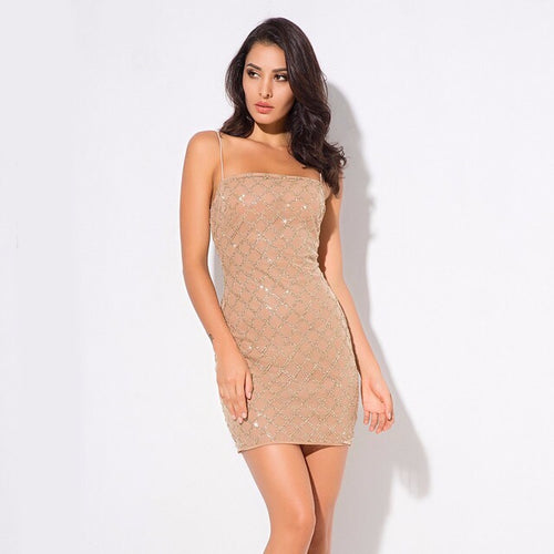 Deluxe Doll Gold Glitter Embellished Mini Dress - Fashion Genie Boutique USA Alt