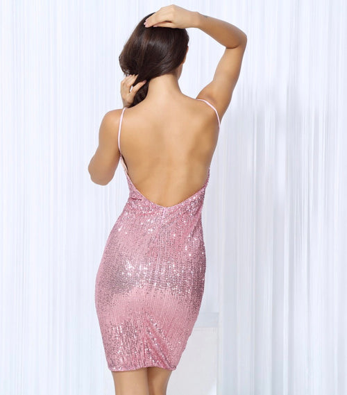 f0d704d3 Weekend Fun Pink Sequin Mini Dress - Fashion Genie Boutique USA Alt
