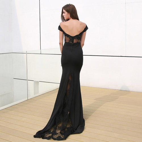 Rise To The Occasion Black Bardot Lace Maxi Dress - Fashion Genie Boutique