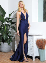 Spanish Dancer Navy Plunge Front Split Maxi Fishtail Dress