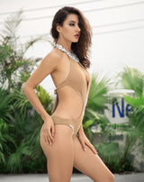 Bossy Beach Nude Crystal Embellished Swimsuit - Fashion Genie Boutique