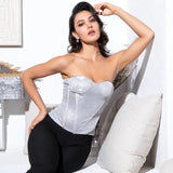 Powerhouse Silver Strapless Glitter Top - Fashion Genie Boutique