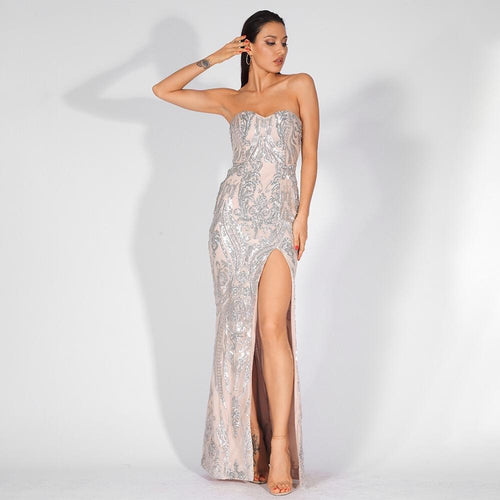 Sweet Vision Silver Strapless Sequin Spilt Maxi Gown Dress - Fashion Genie Boutique
