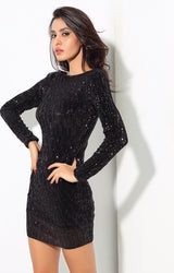 Glam Life Black Sequin Long Sleeve Mini Dress - Fashion Genie Boutique USA Alt