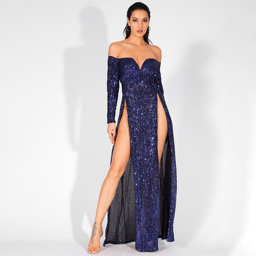 So Lavish Navy Sequin Bardot Double Split Maxi Dress