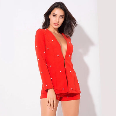 Bethany Red Pearl Shorts and Blazer Co-Ord - Fashion Genie Boutique USA Alt