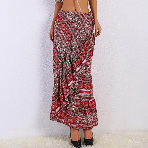 Luddy Red Floral Chiffon Tiered Maxi Skirt - Fashion Genie Boutique