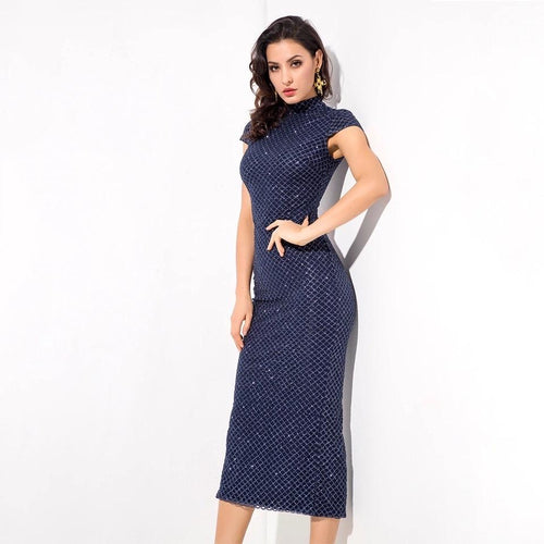 Don't Blame Me Navy Glitter Embellished Midi Dress - Fashion Genie Boutique