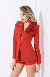 Catchy Confidence Red Blazer & Shorts Two Piece - Fashion Genie Boutique