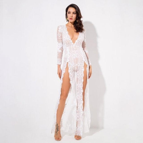 Lady Boss White Sequin Long Sleeve Split Leg Jumpsuit - Fashion Genie Boutique USA Alt