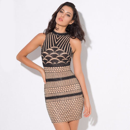 All Dolled Up Black & Nude Glitter Embellished Mini Dress - Fashion Genie Boutique USA Alt