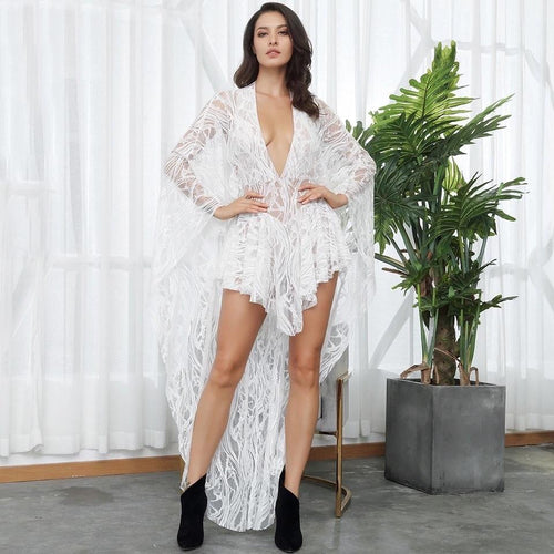 Katie White Lace Ruffle Long Sleeve Maxi Playsuit - Fashion Genie Boutique