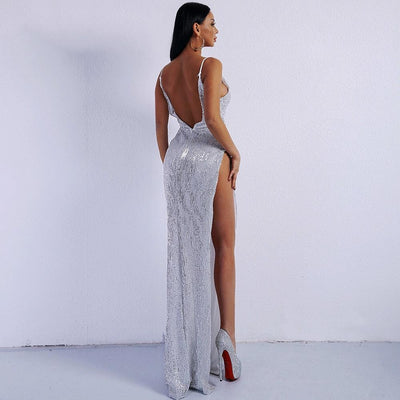 Goodness Gracious Silver Sequin Maxi Party Gown Dress - Fashion Genie Boutique