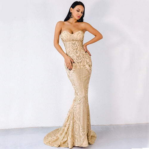 Infinite Dreams Gold Sequin Strapless Maxi Dress - Fashion Genie Boutique