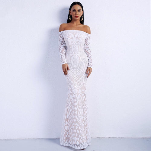 Lend A Glam White Bardot Long Sleeve Maxi Dress - Fashion Genie Boutique