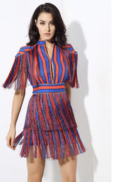 Simple Truth Red & Blue Stripe Fringe Mini Dress - Fashion Genie Boutique