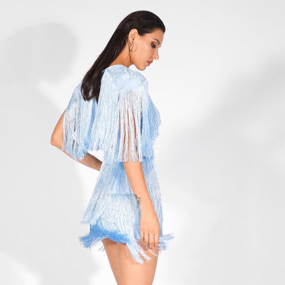 Bittersweet Blue Pearl Embellished Fringe Mini Dress - Fashion Genie Boutique