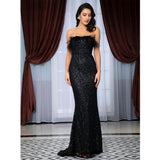 Win Me Over Black Glitter Feather Strapless Maxi Dress - Fashion Genie Boutique