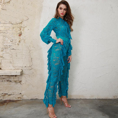 Layered in Lace Blue Lace Ruffle Jumpsuit - Fashion Genie Boutique