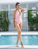Hampton Pink Plunge Strapless Swimsuit - Fashion Genie Boutique