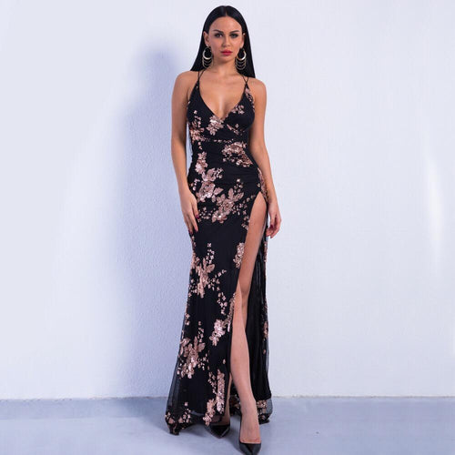 Lele Black And Rose Gold Sequin Front Split Sweeping Maxi Dress - Fashion Genie Boutique