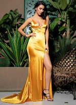 Finely Yellow Satin Side Split Maxi Dress
