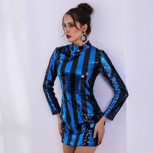 Form a Line Black & Blue Sequin Stripe Long Sleeve Mini Dress - Fashion Genie Boutique