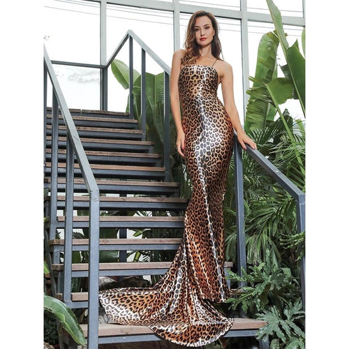 On Show Brown Leopard Print Maxi Fishtail Dress - Fashion Genie Boutique