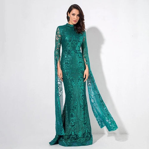 Once Upon A Time Green Glitter Fishtail Maxi Dress - Fashion Genie Boutique