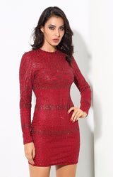 Starstruck Red Glitter Long Sleeve Mini Dress - Fashion Genie Boutique USA Alt
