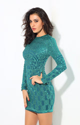 Gatsby Green Glitter Embellished Long Sleeve Mini Dress - Fashion Genie Boutique USA Alt