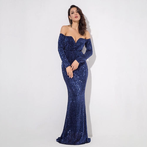 Dressed To Thrill Navy Sequin Bardot Maxi Dress - Fashion Genie Boutique USA Alt