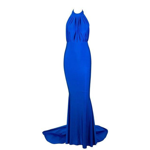 Pop Star Blue Pleated Maxi Fishtail Gown Dress - Fashion Genie Boutique