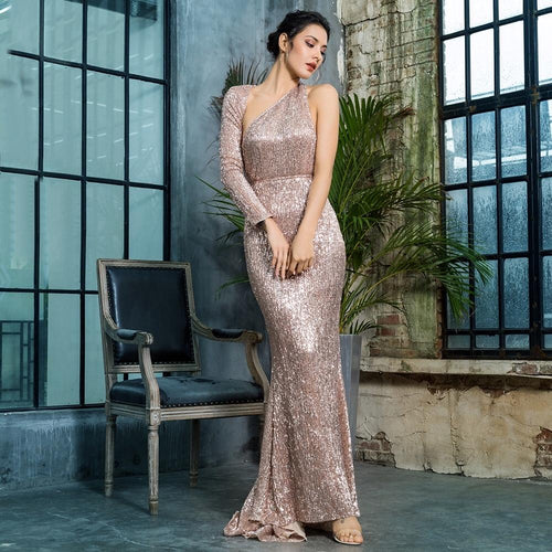 Luxury Night Rose Gold Sequin One Shoulder Maxi Gown Dress