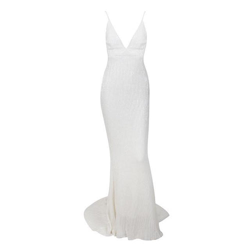Goal Digger White Embellished Sequin Maxi Dress - Fashion Genie Boutique