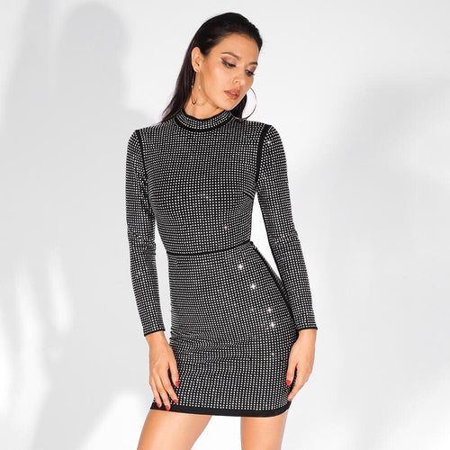 Hooked On Love Black Crystal Embellished Long Sleeve Mini Dress - Fashion Genie Boutique