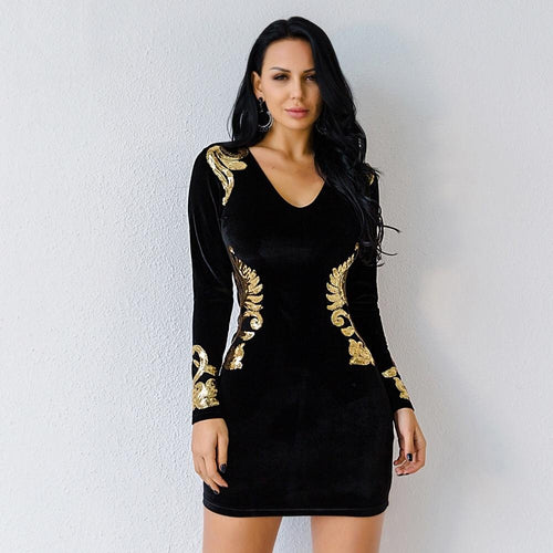 Weekend Sparkle Black Sequin Velvet Long Sleeve Mini Dress - Fashion Genie Boutique