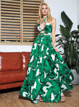 Tanning Time Green Cut Out Maxi Dress - Fashion Genie Boutique