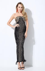 A Long Affair Black & Gold Sequin Stapless Maxi Dress - Fashion Genie Boutique