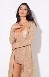 Rise & Shine Gold Floor Length Sequin Jacket - Fashion Genie Boutique USA Alt