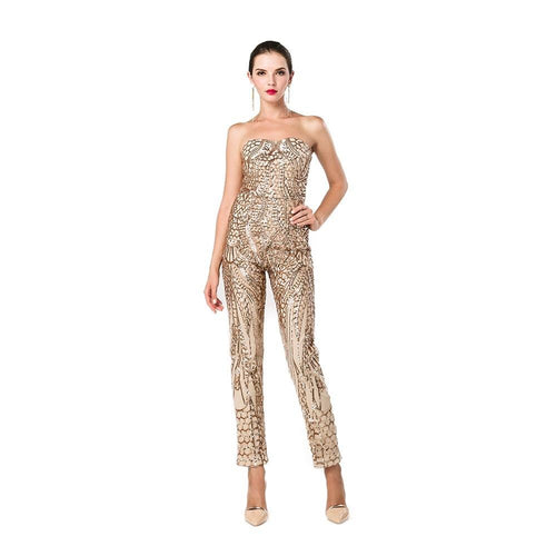 Disco Heaven Gold Strapless Sequin Jumpsuit - Fashion Genie Boutique