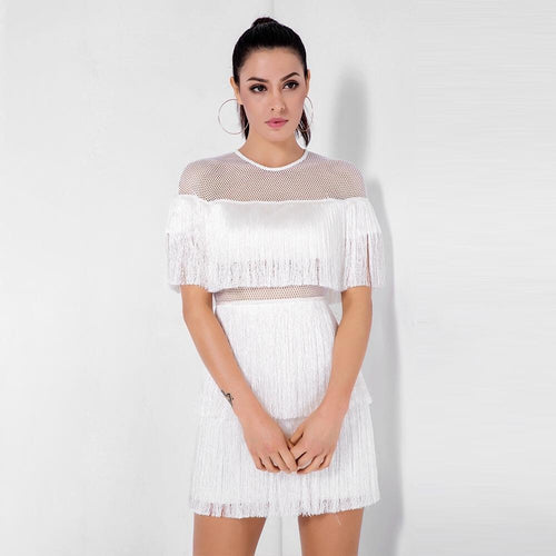 Shimmy Shake White Mesh Panel Fringe Mini Dress - Fashion Genie Boutique