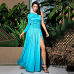 Serena Blue One Shoulder Pleated Maxi Gown Dress - Fashion Genie Boutique