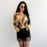 Rose Before Dawn Yellow Long Sleeve Satin Bodysuit - Fashion Genie Boutique