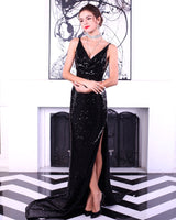 Boulevard Beauty Black Sequin Maxi Gown Party Dress - Fashion Genie Boutique