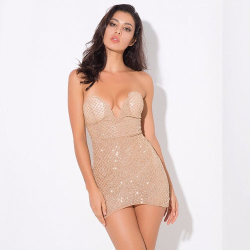 Rise & Shine Gold Sequin Strapless Mini Dress - Fashion Genie Boutique USA Alt