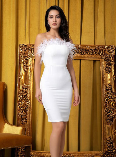 Kissing In Cannes White Strapless Feather Mini Dress