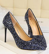 Till the Glitter Ends Navy High Heels - Fashion Genie Boutique USA Alt